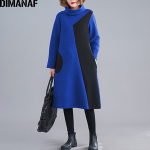 Image 2 - DIMANAF 女性のドレスヴィンテージ長袖冬秋厚い綿の女性ゆるいカジュアルな女性の Vestidos タートルネックパッチワークドレス