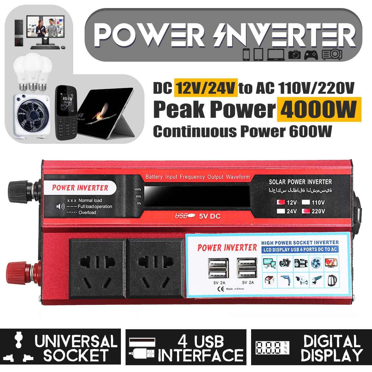 Solar Inverter 12V 220V 4000W Pe ak Voltage Converter Transformer Power car Inverter  12V/24V To 110V/220V For Car Battery