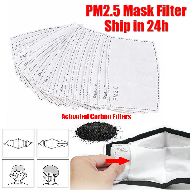10pcs 5 Layers Activated Carbon Filter Efficient Filtration PM2.5 Anti Haze Mouth Masks Replaceable Filters For Mouth-muffle