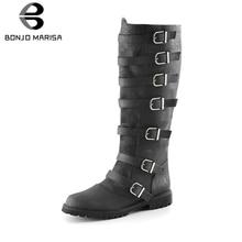 BONJOMARISA New Dropship Plus Size 34-48 womens Retro Knee High Boots Women 2019 Casual Flat Shoes Woman Low Heels