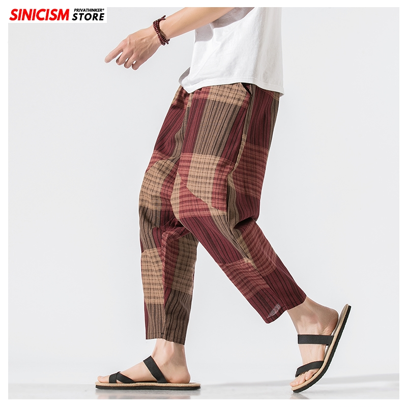 Sinicism Store Men Patchwork Harem Pants Mens Breathable 2020 Chinese Style Loose Joggers Male Summer Pants Oversize Bottoms