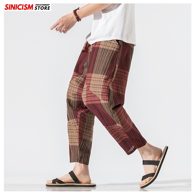 Sinicism Store Men Patchwork Harem Pants Mens Breathable 2020 Chinese Style Loose Joggers Male Summer Pants Oversize Bottoms 11