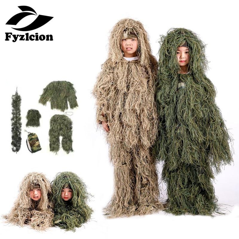 Chasse enfants enfants forêt Camo Sniper Ghillie costume vêtements boisé tactique uniforme armée vêtements Ghillie costume Geely