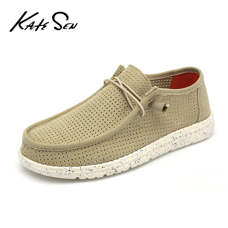 Driving Shoes Loafers Easy-To-Wear Canvas Men Casual Slip KATESEN Big-Size Men's Summer