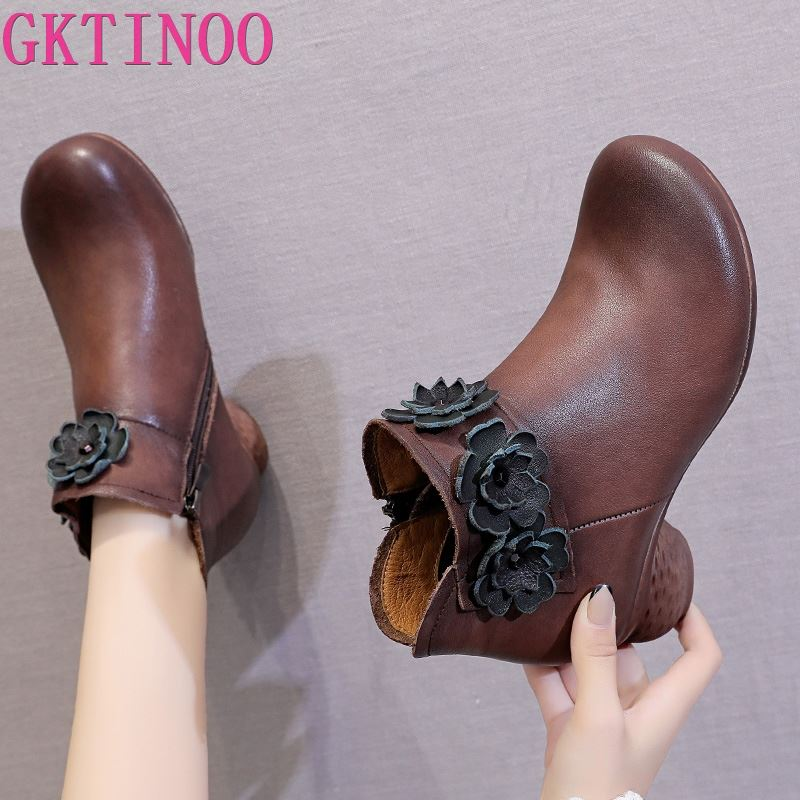 GKTINOO Spring Autumn Women Boots Genuine Leather Thick Heels Ankle Boots For Women Shoes Retro Flower Zipper Short Boots