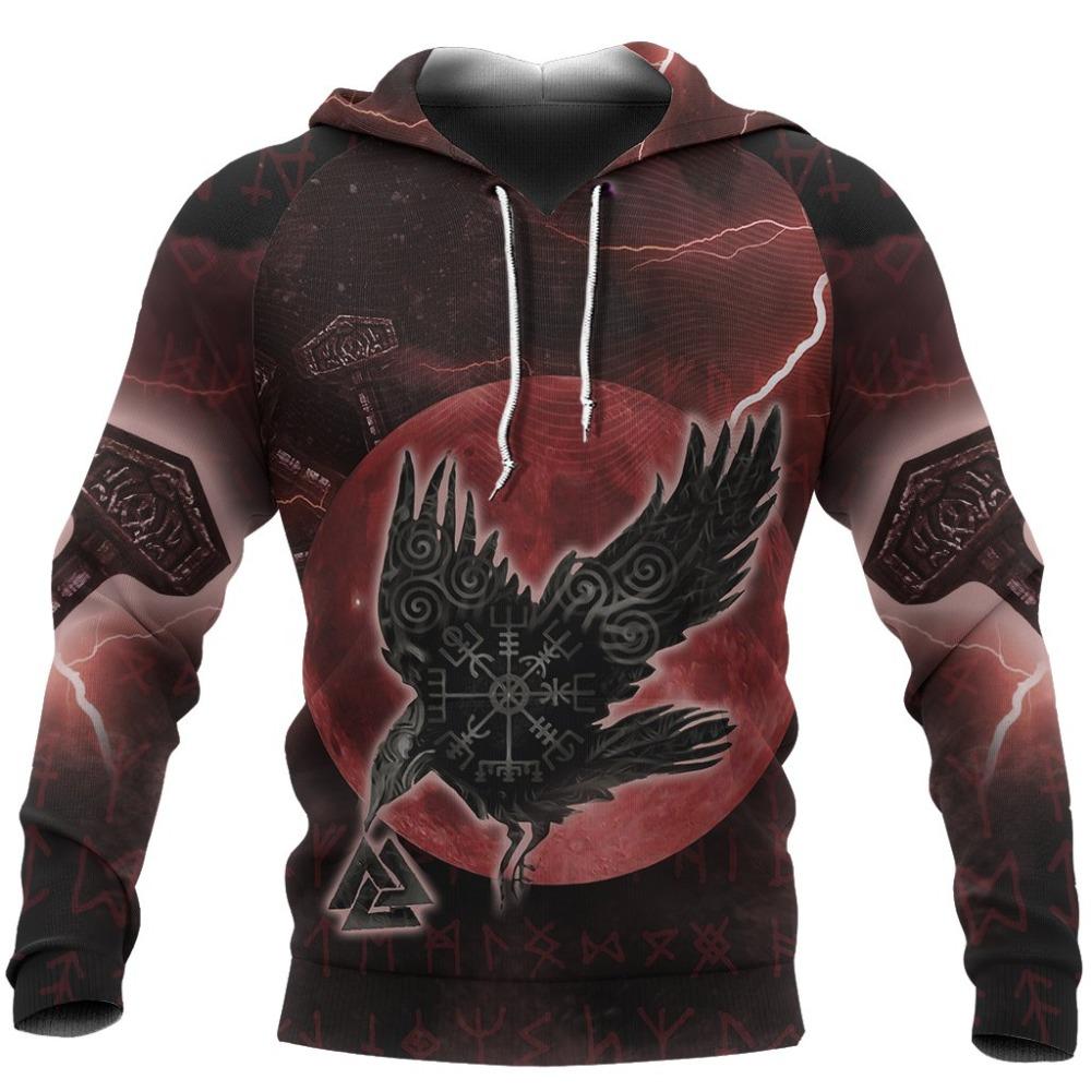Viking пуловер с капюшоном Ворон один рун 3d печатные мужские