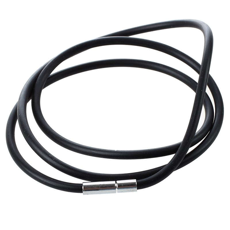 25.5 Inch 3MM Rubber Neck Cord Necklace With Stainless Steel Closure - Black