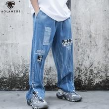 Aolamegs Men Jeans Comics Print Detachable Denim Pants Elastic Waist Trousers Harajuku High Street Retro Fashion Streetwear