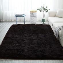 Современный ковер черного цвета, Пушистый Плюшевый пол, пушистые коврики с принтом для детей, ковер из искусственного меха, коврики для гост...