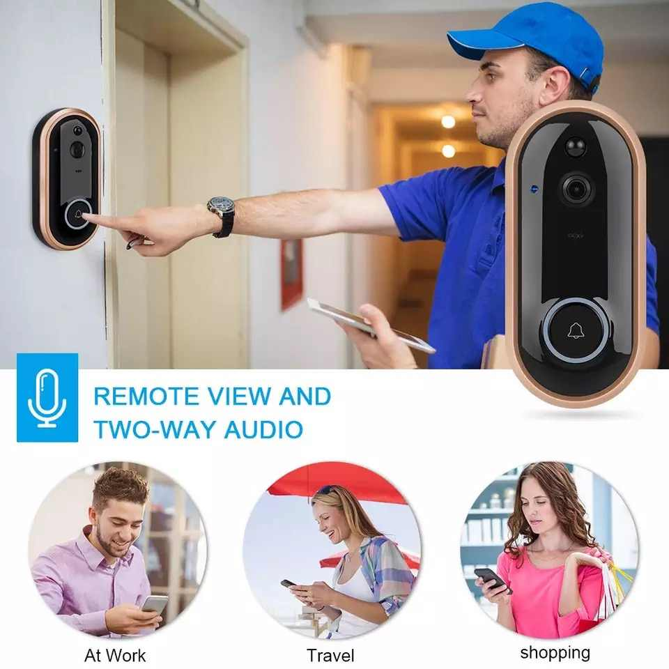 TEXOSA Video Sistema de portero automático timbre wifi inalámbrico ip Cámara 1080P seguridad timbre inteligente visión nocturna video puerta teléfono