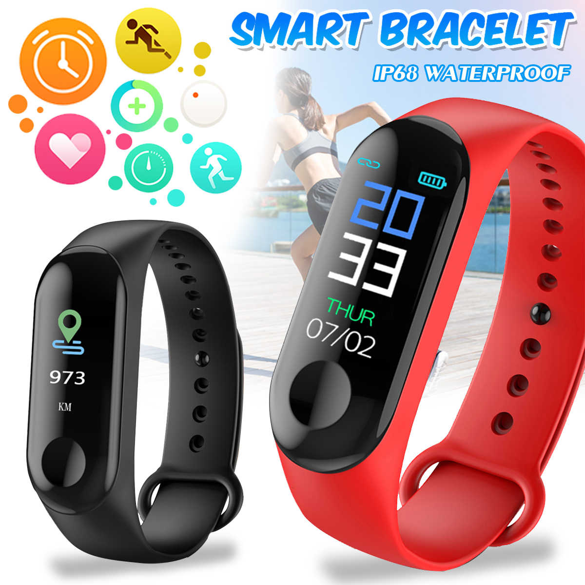 M3 Smart Wristband Heart Rate Sleeping Monitor Blood Pressure Fitness Tracker Color Screen Sport Fitness Smartwatch Smart Watch