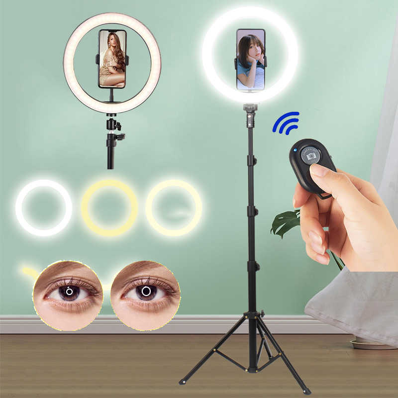 LED photographie remplir éclairage trépied support caméra Photo Studio cercle Selfie anneau lumière téléphone lampe vidéo TikTok Youtube vidéo