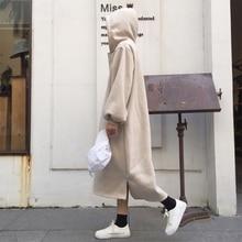 Fashion Women Hooded Drawstring Fleece Autumn Dresses Winter Warm Dress Vestidos Hoodies Sweatshirt Loose Streetwear