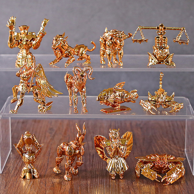 Saint Seiya figuras para escritorio del zodiaco dorado, Mini figuras para escritorio, juguetes Brinquedo, 12 unidades