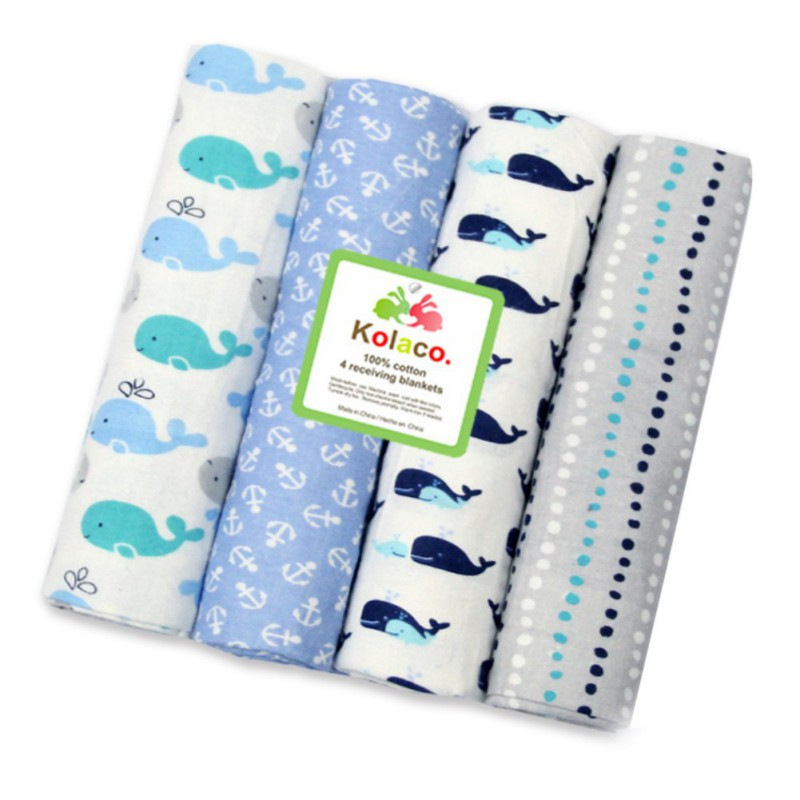 4PCS/Set Newborn Blankets Muslin Cotton Baby Swaddle Multi-use Baby Blankets Newborn Swaddle Muslin Infant Gauze Both Towel Baby