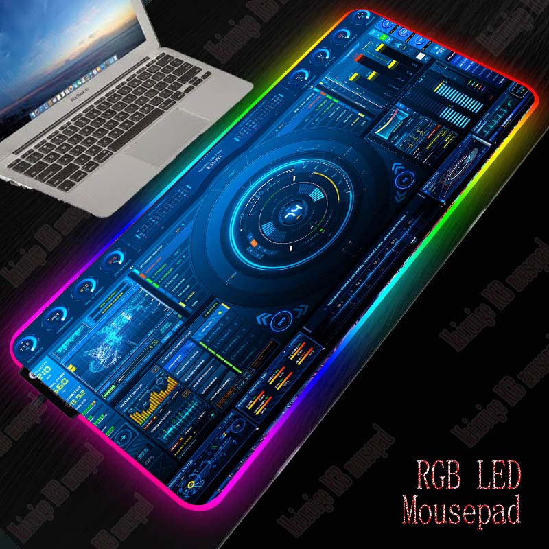XGZ Dj Controller Gaming RGB Large Mouse Pad Gamer Big Mouse Mat Computer Mousepad Led Backlight XXL Mause Pad Keyboard Desk Mat