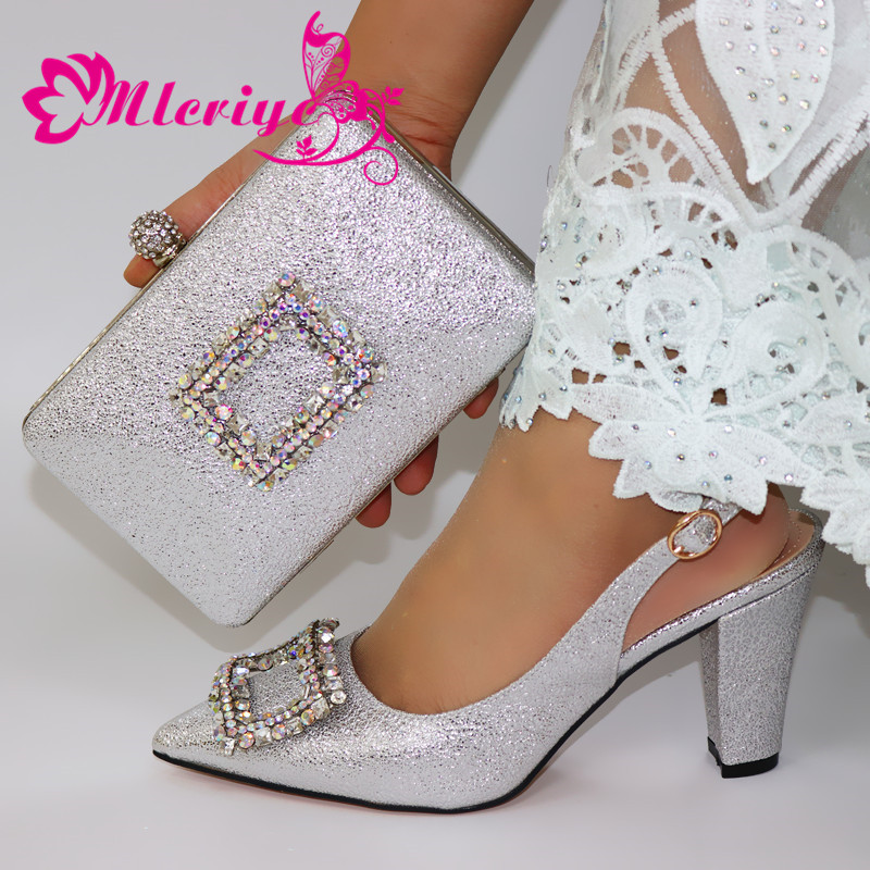 Italian design Shoes and Bag To Match Shoes with Bag Set Silver Color Shoe and Bag Set for Party In Women Nigerian Shoe and Bag