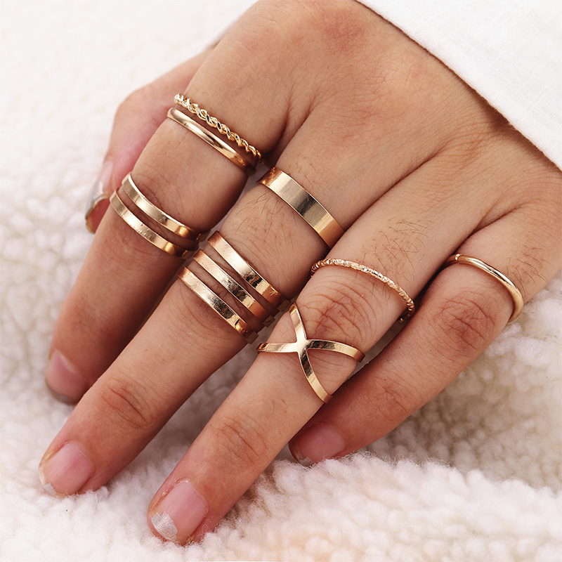 KISSWIFE 8 Pcs/Set Simple Design Round Gold Color Rings Set For Women Handmade Geometry Finger Ring Set Female Jewelry Gifts(China)