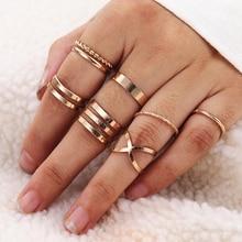 KISSWIFE 8 unids/set redondo de diseño simple Color oro anillos para las mujeres hecho a mano geometría dedo anillo de joyería femenina regalos