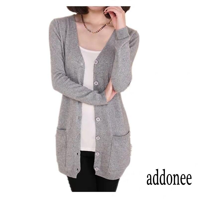 Women/'s Autumn Cashmere Cardigan Long Sweater With Pockets Loose Coat S-XXL Sz
