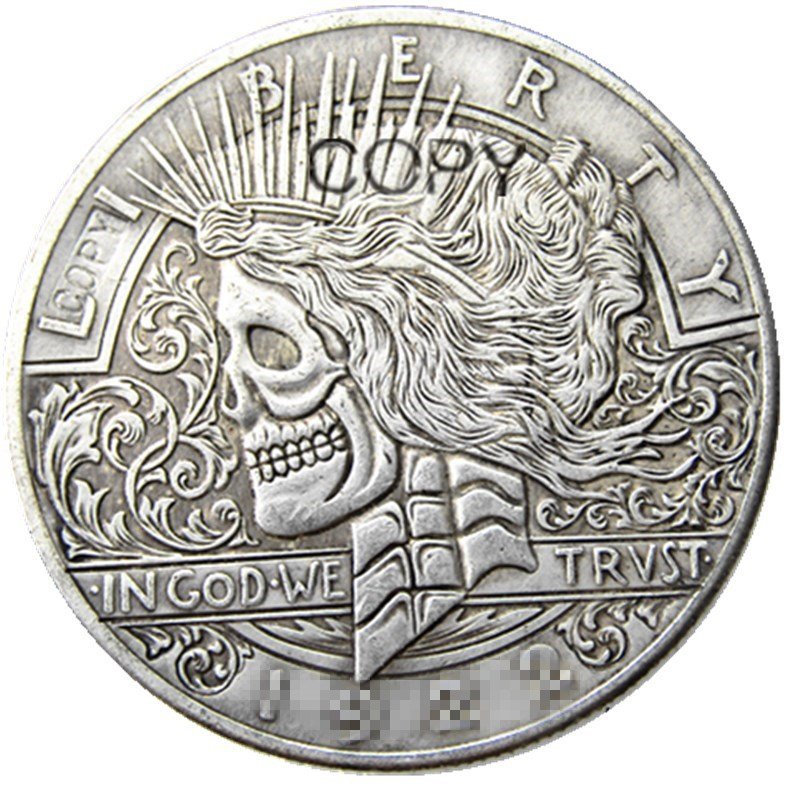 HB(41)US Hobo 1922 Peace Dollar Skull Zombie Skeleton Silver Plated Copy Coins