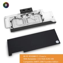 EK FC rtx2080 + ti clássico 12v rgb gpu bloco de água para nvidia®Geforce rtx 2080 e rtx 2080 ti placa gráfica com placa traseira