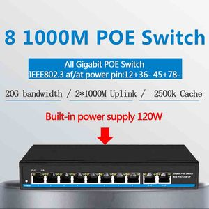 Image 1 - 48V Gigabit 10 porte Poe Switch Ethernet gigabit switch supporto IEEE802.3af/a telecamere IP e di rete Wireless AP interruttore