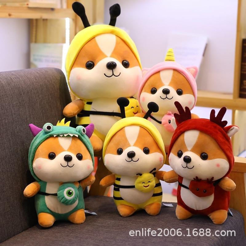 New 20-50cm Cute squirrel Shiba Inu Dog Plush Toy Stuffed Soft Animal Corgi Chai Pillow Christmas Gift for Kids Kawaii Valentine(China)