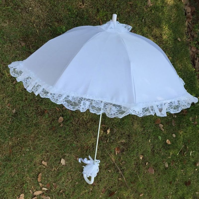 Wedding Bridal Parasol Umbrella Hollow Lace White Romantic Photo Props Decorative Umbrellas Flower Girl