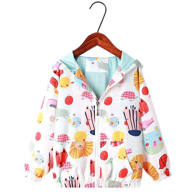 2、Korean Spring And Autumn New Children's Clothing Girl's Cartoon Unicorn Hooded Assault Suit Zipper Jacket Cardigan Windproof
