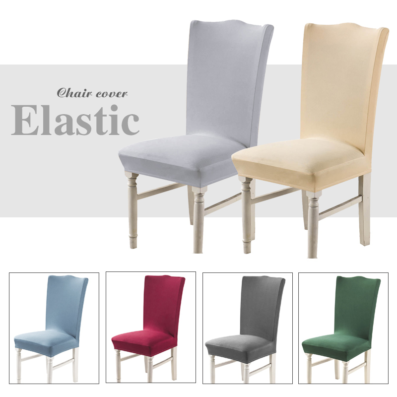 Solid Grey Color Chair Covers Spandex Dining Room Stretch Seat Cover Chair Protective Case For Restaurant Basen Ogrodowy