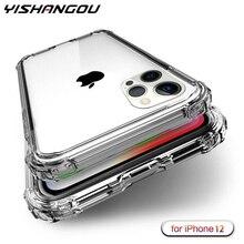 Chịu lực Bảo Vệ Dành Cho iPhone 12 11Pro XS Max X SE 2 4 Góc Tăng Cường Silicon Ốp Lưng Trong Suốt iPhone XR 6S 7 8 Plus