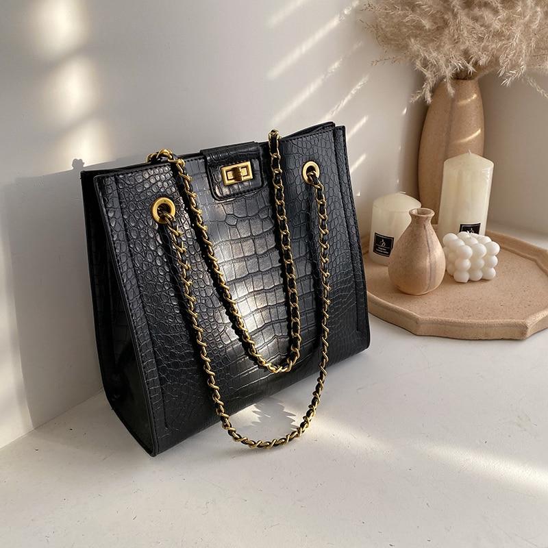 Crocodile Pattern Crossbody Bag 2019 Fashion New High Quality Leather Women's Designer Handbag Lock Chain Shoulder Messenger Bag