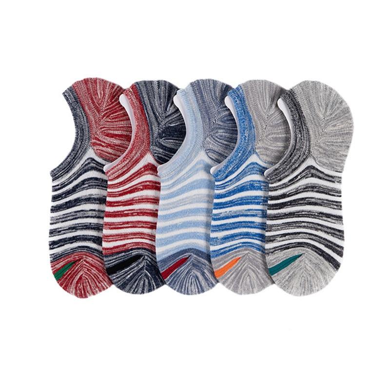 Men's Socks New Non-slip Silicone Invisible Boat Compression Socks Male Ankle Sock Striped Streetwear Men Cotton Socks Autumn