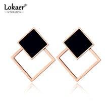 Lokaer-pendientes de Doble cuadrado acrílicos para mujer, de acero inoxidable, oro rosa, negro, joyería geométrica, estilo OL, E19077
