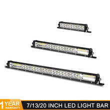 Siêu Mỏng Thanh Đèn Led 7 13 20 Inch 60W 120W 180W Dual Hàng LED Ánh Sáng thanh Cho 4X4 ATV Off Đường Combo Xe Đèn Led Công Barra Led