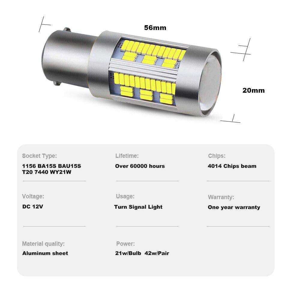 Amningpu 2x сигнальная лампа 1156 p21w ba15s led canbus bau15s