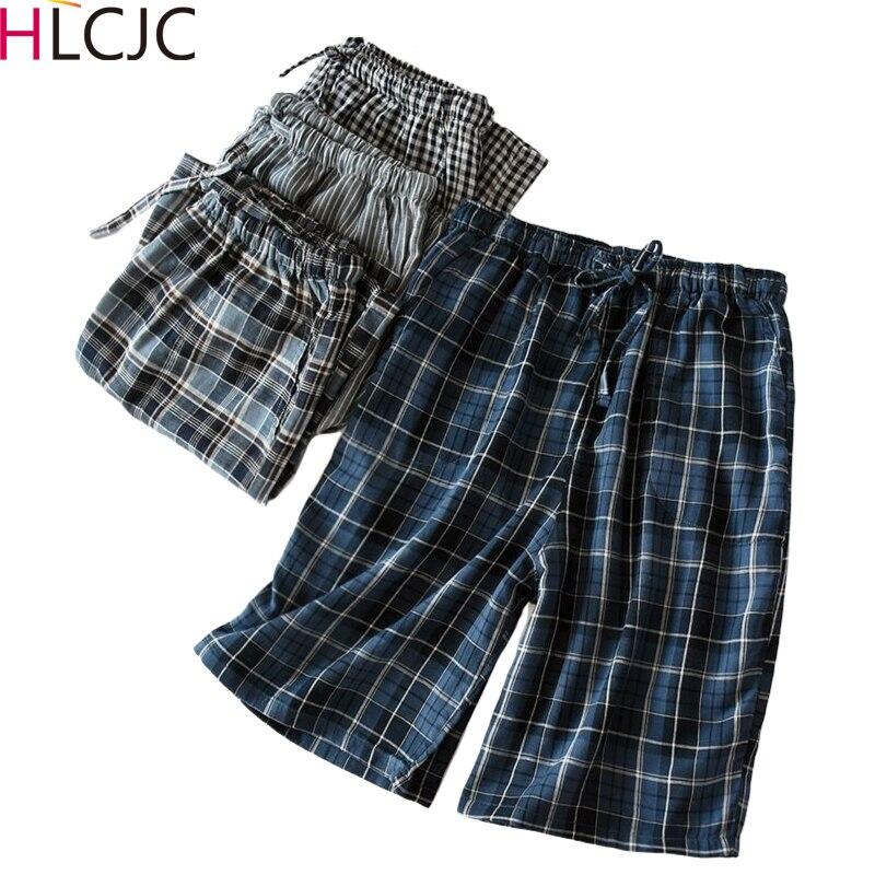 Hot Sale Summer Plaid Shorts Sleep Bottoms Men Sleepwear Pants Soft Cotton Gauze Home Shorts Men Casual Pajamas Pants For Male