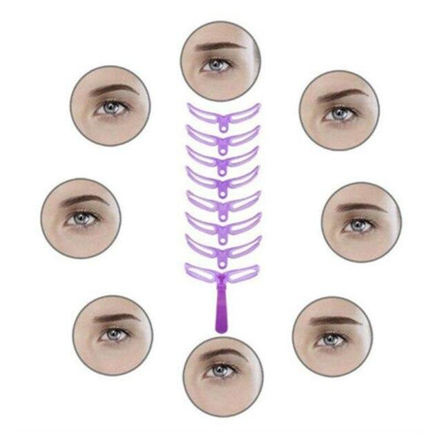 Reusable 8 in1 Eyebrow Shaping Template Helper Eyebrow Stencils Kit Grooming Card Eyebrow Defining Makeup Tools 4