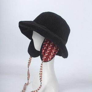 Image 2 - Winter Faxu Lambswool Bucket Hat for Women Ribbon Thick Warm Female Girls Bob Outdoor Sunscreen Panama Lady Ear Protection Cap