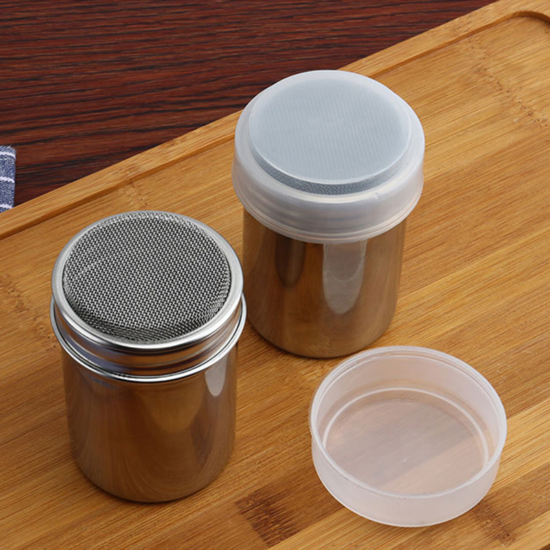 Small and Large Size Stainless Steel Chocolate Shaker Icing Sugar Powder Flour Powder Cocoa Coffee Sifter Shakers with Cover