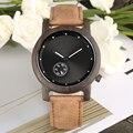 Ретро Ebony деревянные корпусные кварцевые часы коричневый кожаный ремешок деревянные повседневные часы для мужчин большой круглый цифербла...