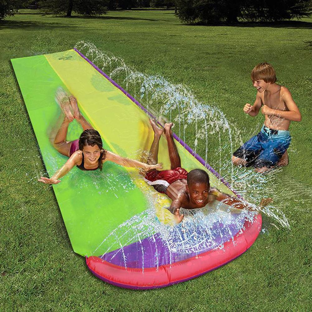 Outdoor Water Slide Lawn Water Slides For Children Summer Beach Water Spray Double Surfboard Pool Games Kids Waterslide Toys