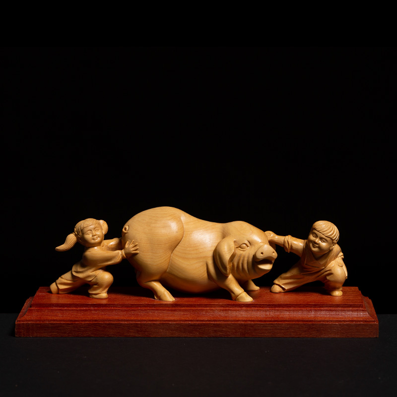Chinese Country Style Two Children Playing with Pig Animal Sculpture Gothic Boxwood Miniature Creative Feng Shui Ornaments