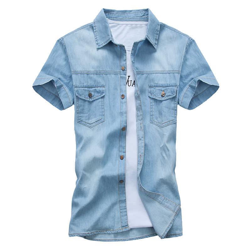 Mới Nam Áo Sơ Mi Denim Phong Cách Mùa Hè Ngắn tay Trơn Cotton Camisa Xã Hội Masculina (Không bao gồm Trắng Tee)
