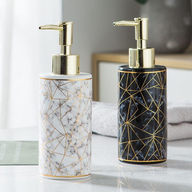 300ml Marble Texture Ceramic Soap Dispenser Hand Soap Bottle Nordic Bathroom Toilet Lotion Bottle Shower Gel Bottle