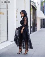 new popular sexy women lace dress black white polka dot long sleeve autumn sexy long maxi dress