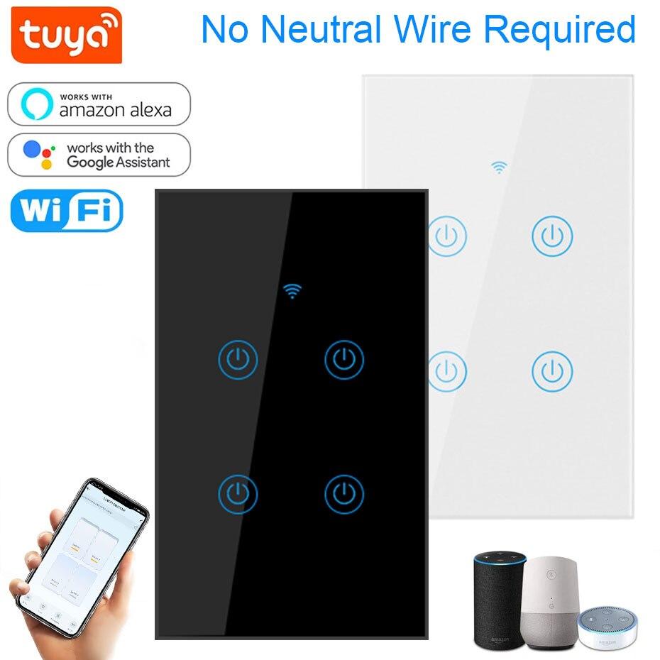 Умный светильник ель света Tuya, 220 В, работает с Alexa, Google Home, без нейтрального провода, с голосовым дистанционным управлением, с Wi-Fi, Настенные п...