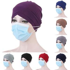 Hijab Cap Women Solid Color Front Cross Button Beanie Muslim Bonnet Turban Hat Hijab Cap Women Head Scarf Under Hijab Bonnet