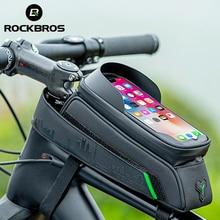 ROCKBROS bisiklet çantası ön tüp bisiklet telefonu çantası dokunmatik ekran eyer çantası su geçirmez bisiklet çerçeve 5.8/6 inç MTB çanta aksesuarları